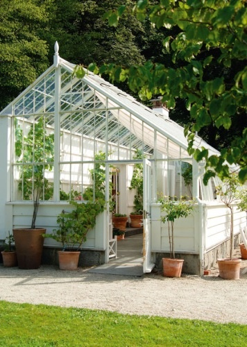 bright white glasshouse