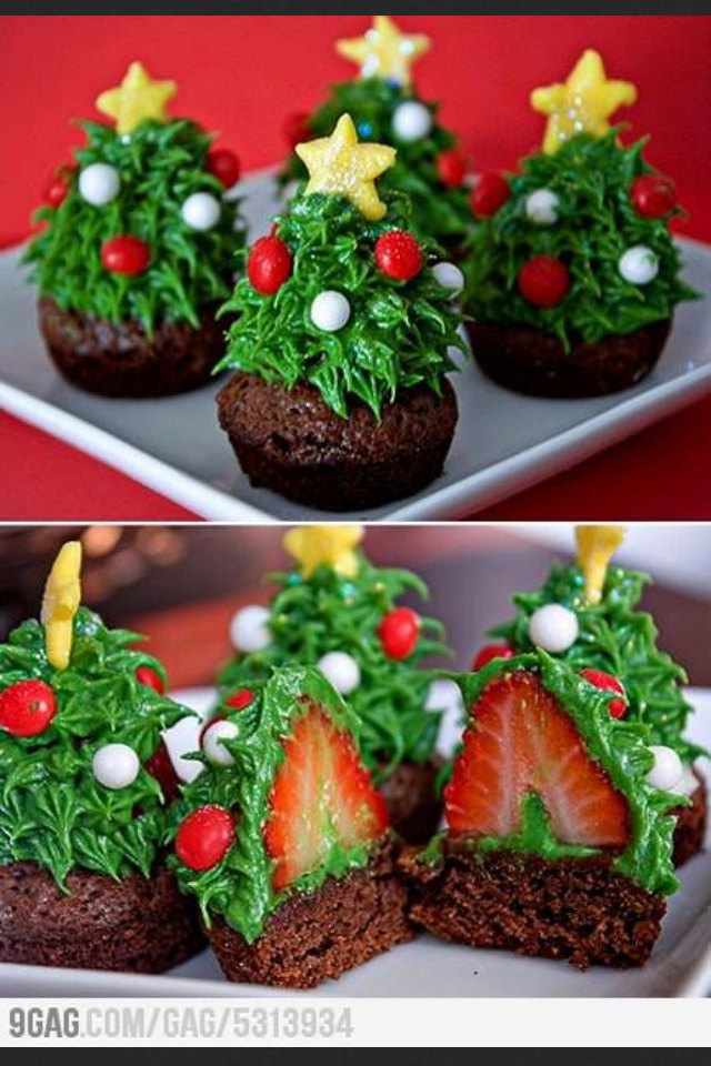 how to make christmas tree cupcakes with strawberries