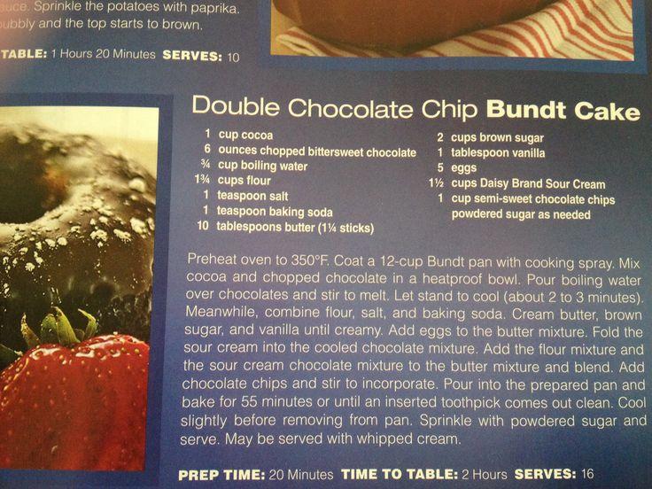 Double chocolate chip bundt cake | Cake Junkie | Pinterest