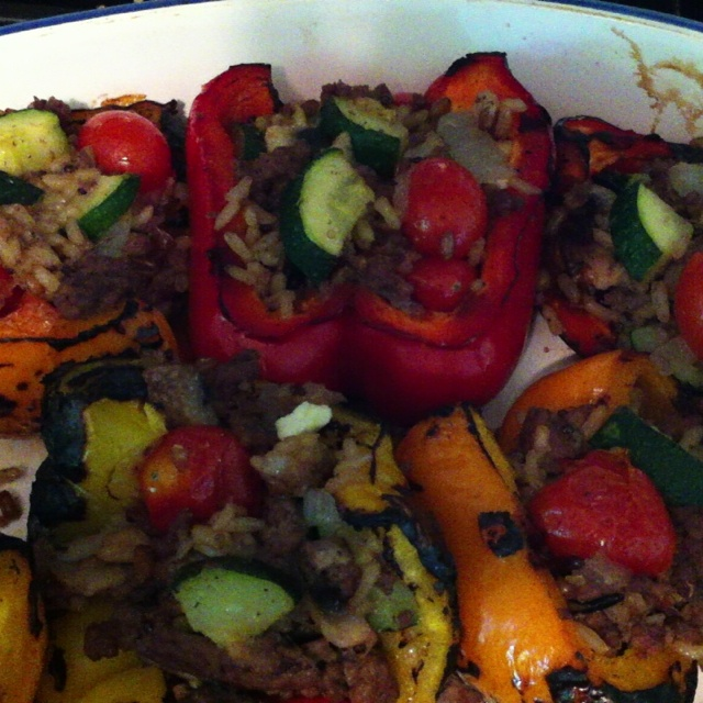Stuffed roasted red peppers with lamb, zucchini, mushrooms, feta ...