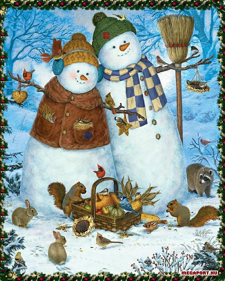 Snowman couple | Christmas illustrations, drawings ...