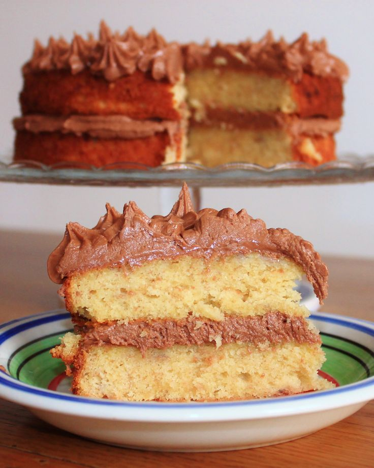 Banana cake with Nutella frosting. | Food | Pinterest