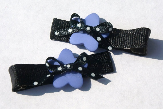 black and purple clippies polkadot hair clip girls by mylittlebows, $3.00