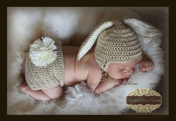 Crocheted Baby Bunny Hat and Diaper Cover set