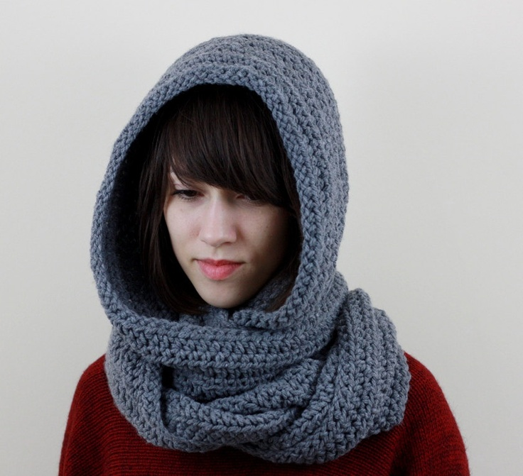 Noddy Knitting Pattern : Gray Hooded Scarf Mens Hooded Scarf Womens Hooded Scarf Chunky Long Scarf Win...