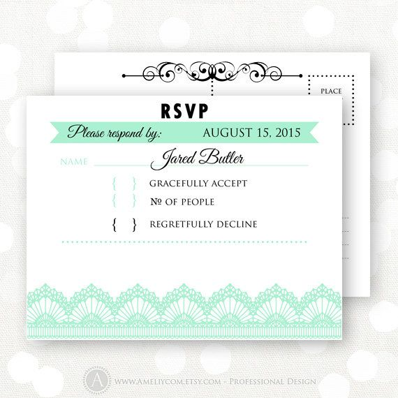 Printable rsvp card mint white lace wedding reply card response ca for Printable rsvp cards