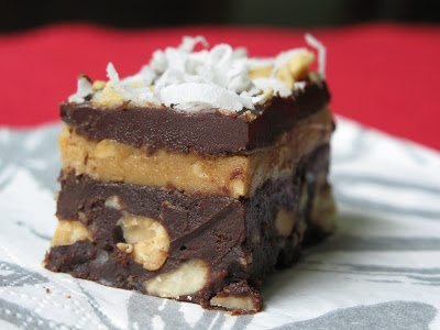 Peanut Butter and Fudge Brownies with Salted Peanuts