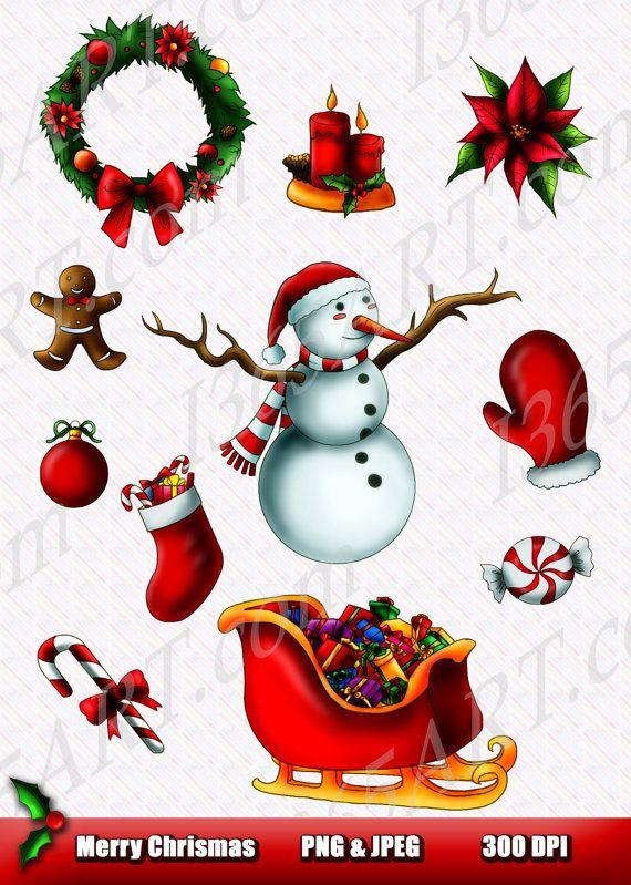 Merry Christmas ClipArt Set 2 11 pieces cute snowman, stuffed stockin ...