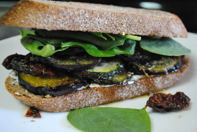 Grilled Vegetable, Herb and Goat Cheese Sandwich