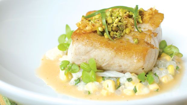 Sea Bass With Thai Curry And Pistachios by Walter Manzke | American ...