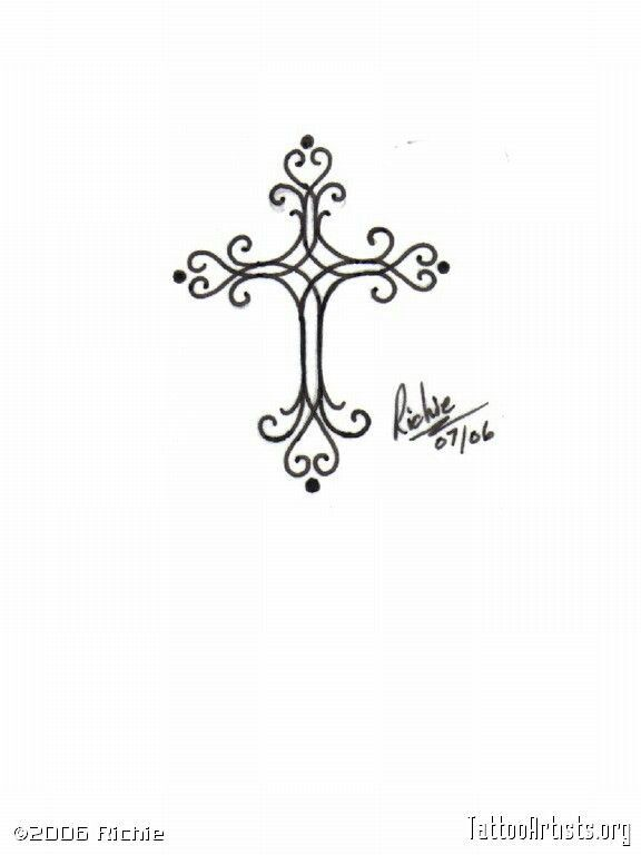 Elegant cross tatts tattoos pinterest for Elegant cross tattoo designs