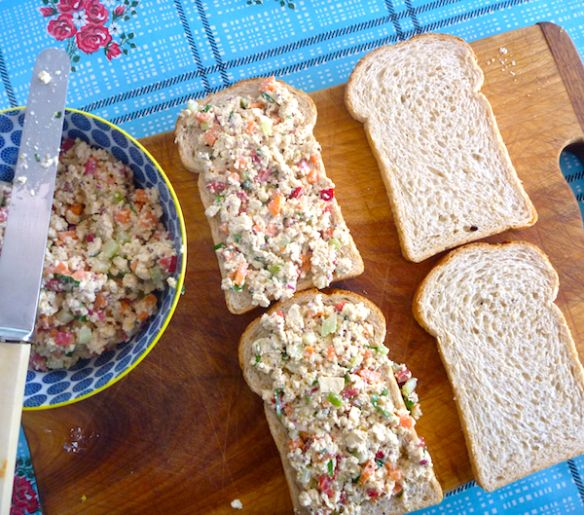 Tofu salad sandwich spread with pickled celery