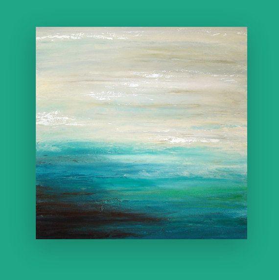 Beach Seascape Original Art Abstract Acrylic Painting on ...