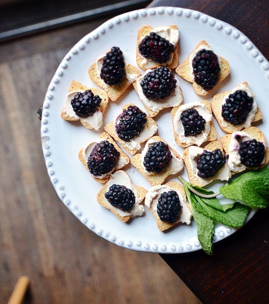 Cheese + Blackberry on Mini Toast (Would also be good with Blue Cheese ...