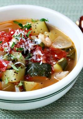 Tomato Zucchini White Bean and Basil Soup Recipe