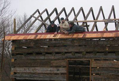 Log cabin construction joy studio design gallery best for Log cabin roof construction