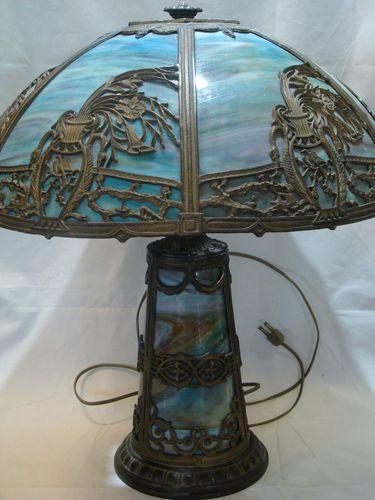 antique blue slag glass electric table lamp light antique blue. Black Bedroom Furniture Sets. Home Design Ideas