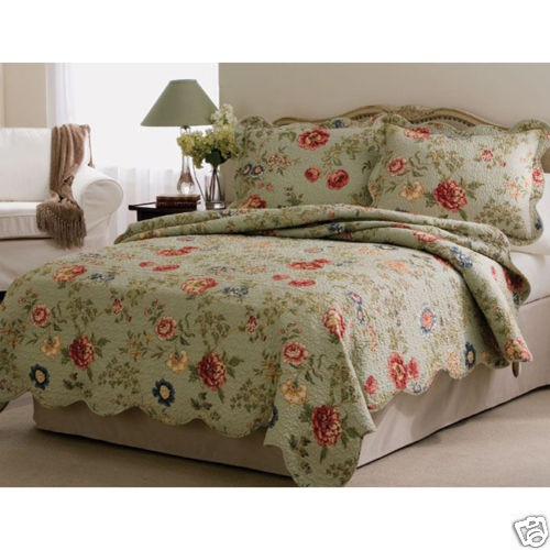 Shabby French Country Chic Floral Garden Quilt Set Queen