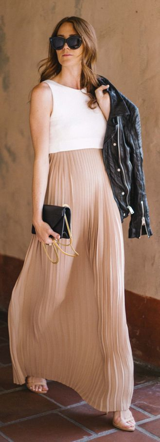 maxi pleated chiffon dress
