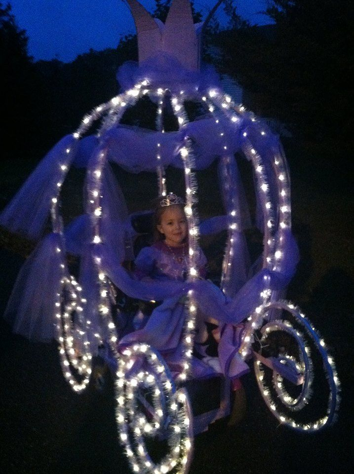 Cinderella in her carriage - little girl with wheelchair