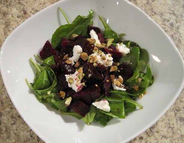 Roasted Beet and Arugula Salad with Goat Cheese and Pistachios The ...