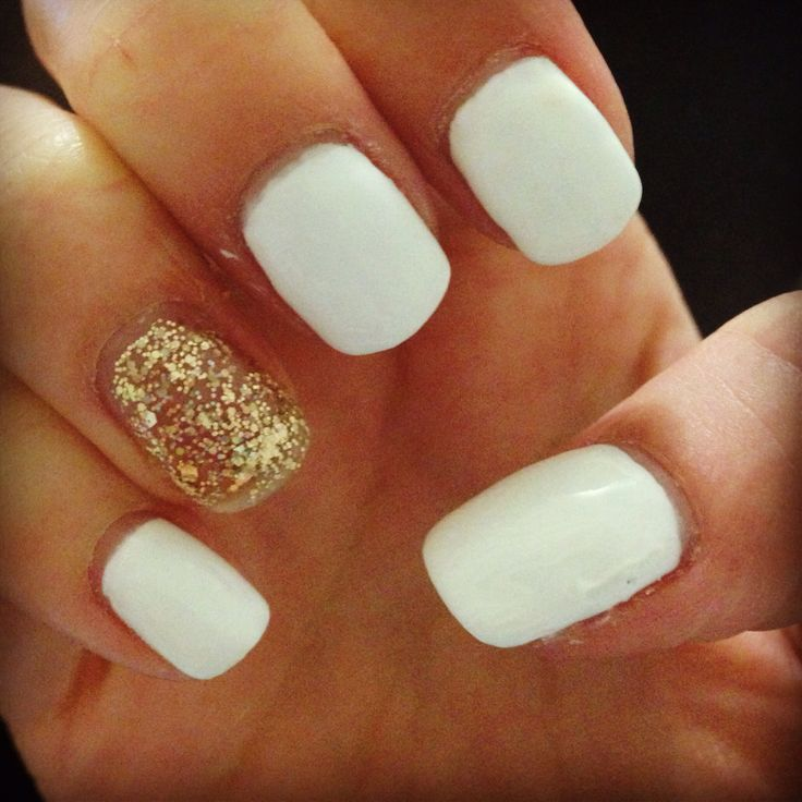White and gold shellac!   Nails!   Pinterest