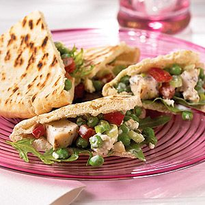 ... Chicken Breast Strips, peas, tomato, feta cheese, and green onions