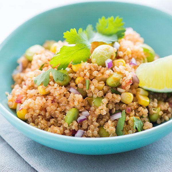 Corn and Edamame Quinoa Salad. Sweet seasonal corn, crunchy salty ...