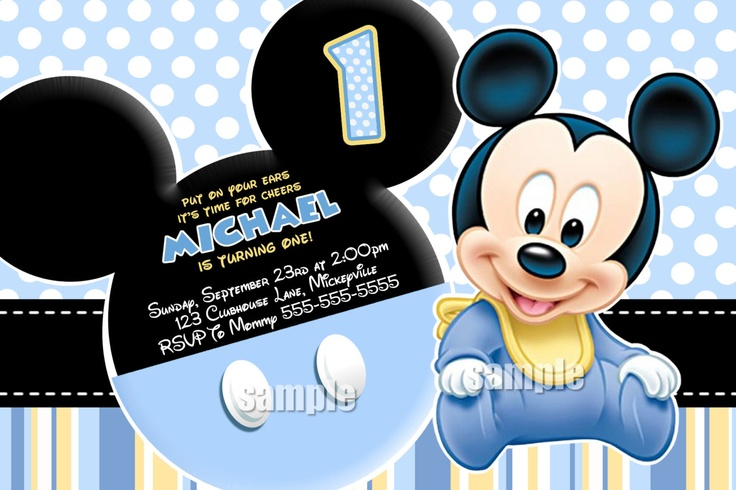 Baby Mickey Mouse Invitation - Blue Yellow Black Mickey Mouse ...