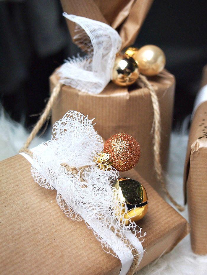 Geschenk einpacken braunes Papier