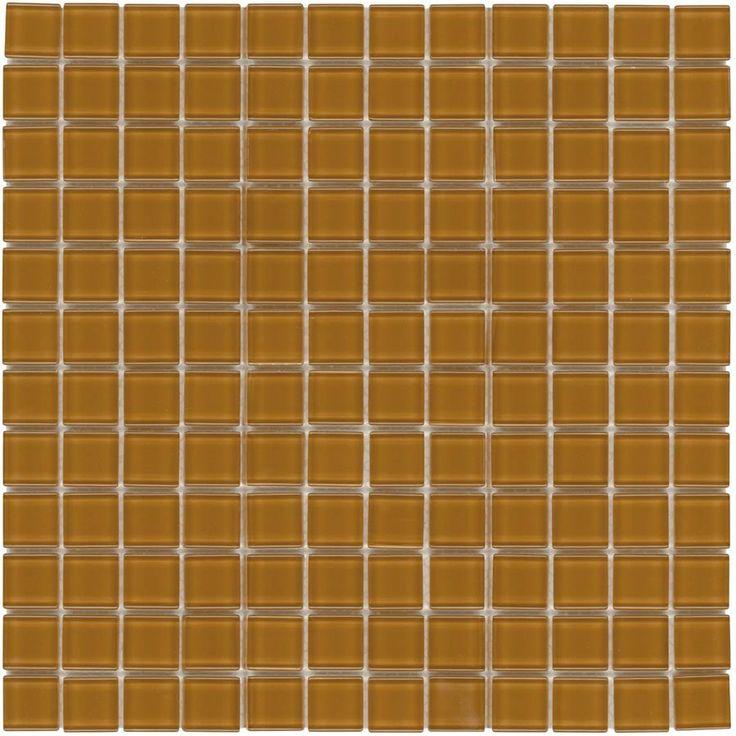 glass mosaic tile backsplash brown 1x1