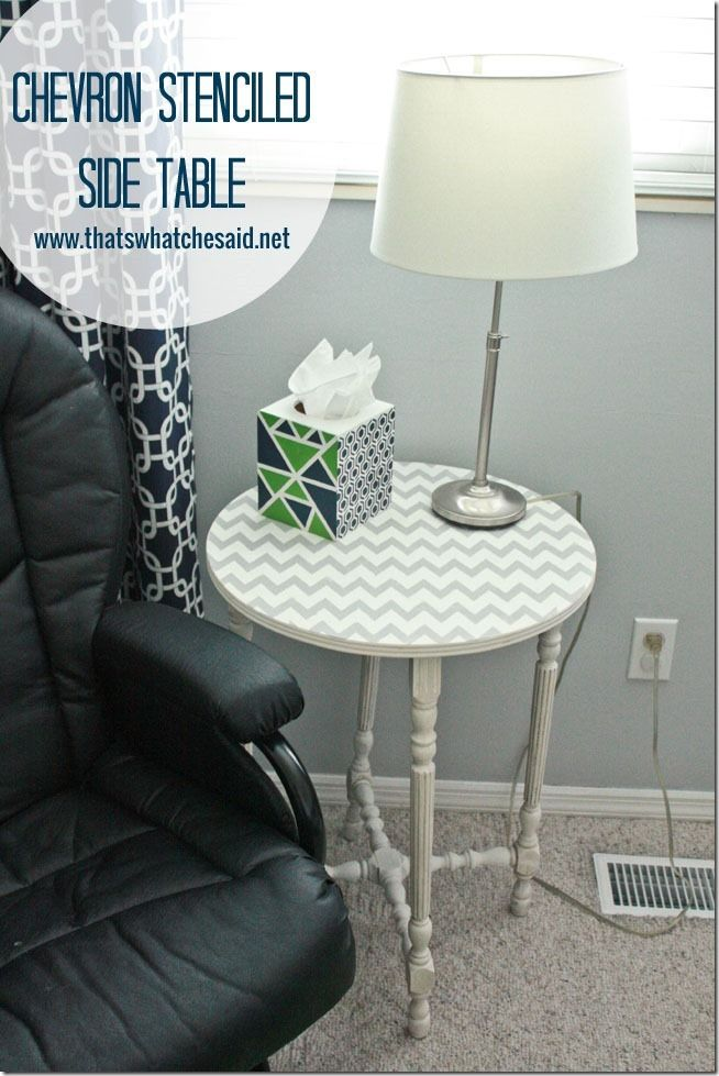 Chevron Stenciled  Side Table at thatswhatchesaid.net  #thebigbling
