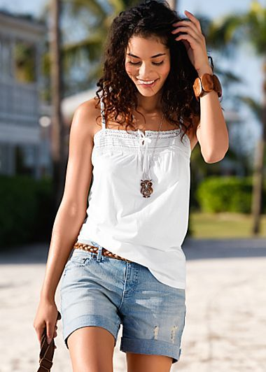 White Crocher Trim Cami $14 Blue Bleached Used Denim Short $29 Venus.com-favorite Pinterest pins