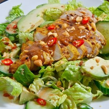 tender and juicy Thai style grilled chicken satay salad with creamy ...