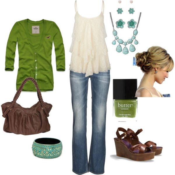 Casual spring outfit - Turquoise and green