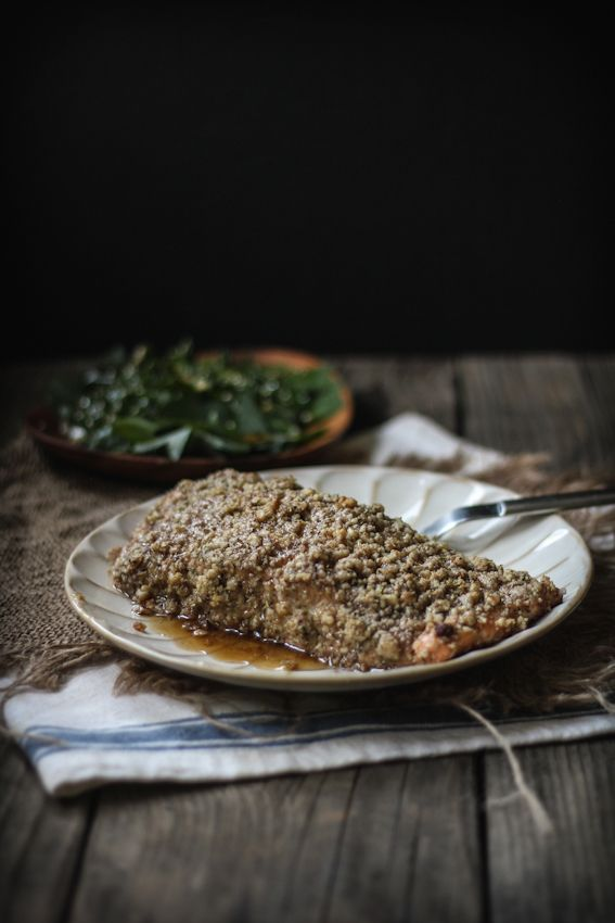 Baked Walnut & Rosemary Encrusted Salmon with a Sesame Ginger Kale ...
