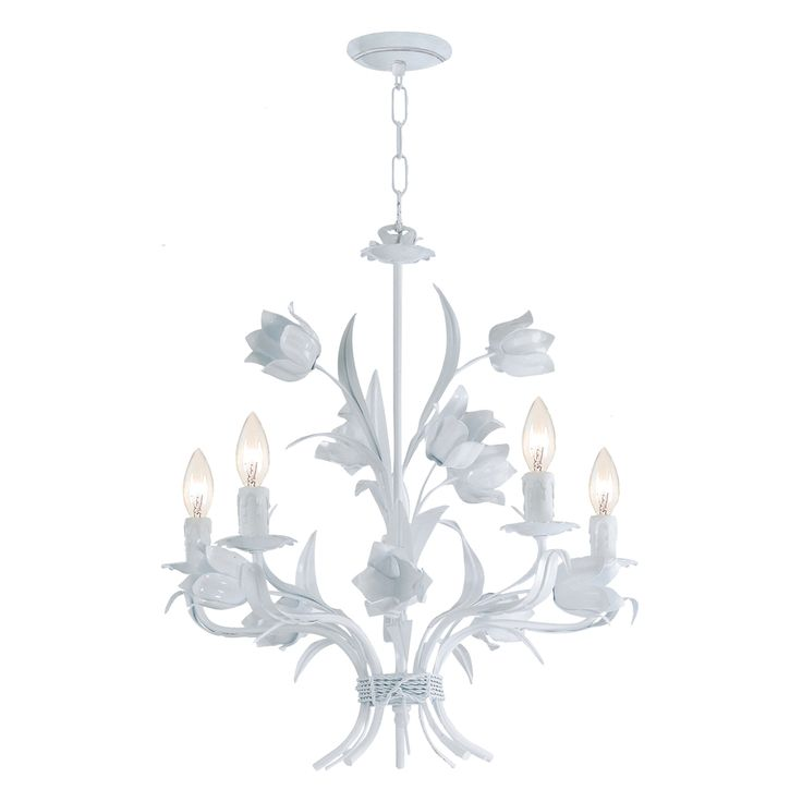 Southport 5 light white floral chandelier for White chandelier for bedroom