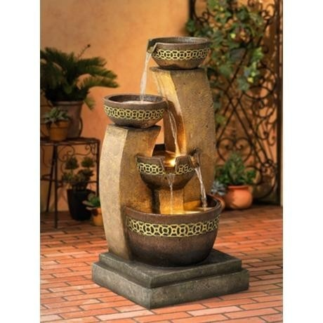 3 Bowl Cascading Outdoor Water Fountain with Lights