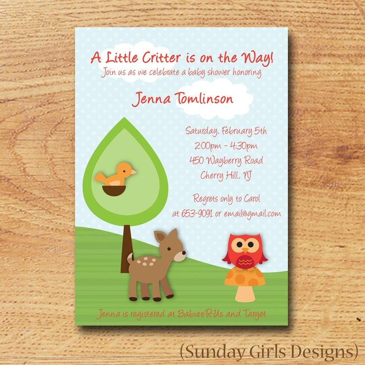 woodland critters baby shower invitation printable custom card