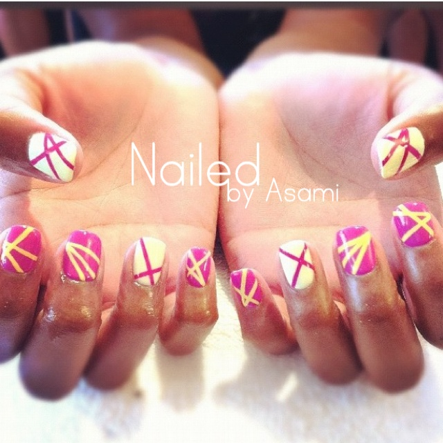 Pink and Yellow design nails with Gel. | Gel nails | Pinterest