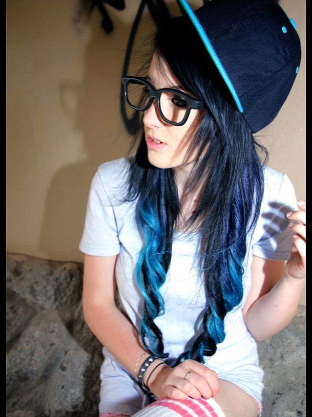 black and blue hair ombr233 dip dye hair did pinterest