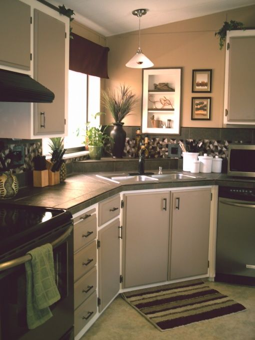 Budget kitchen makeover mobile home makeover pinterest Mobile home kitchen remodel pictures