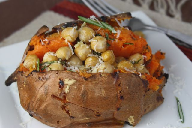 Rosemary Parmesan Chickpea sweet potatoes