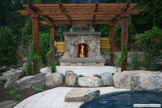 pergola with fireplace outside projects