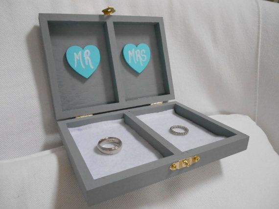Custom Wedding Ring Box. Tiffany Blue and Gray Wedding Box. Ring ...
