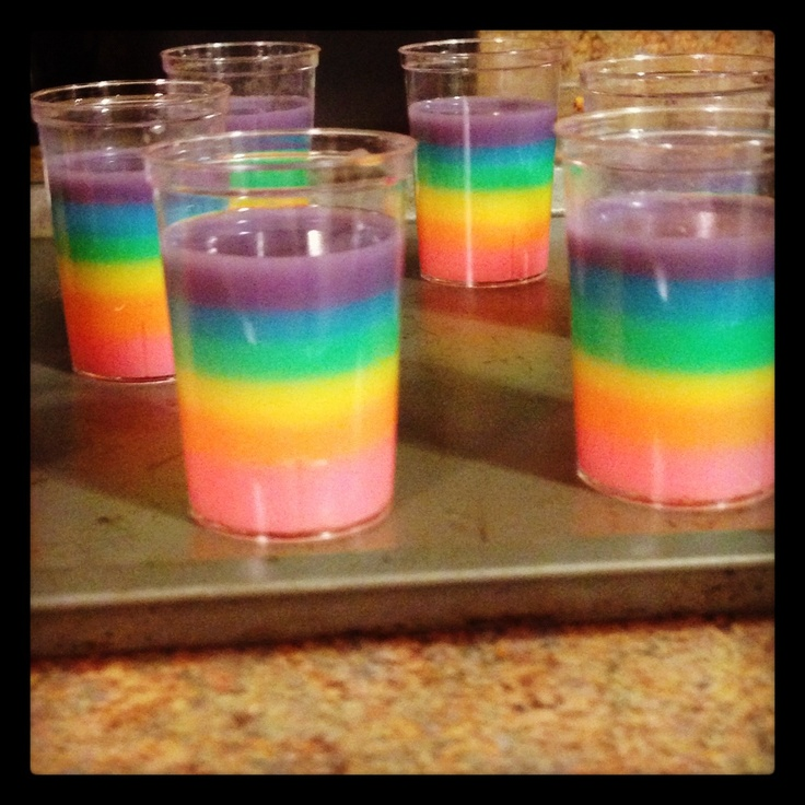 Rainbow cake Jell-O shots | Rainbow and Lollipops | Pinterest