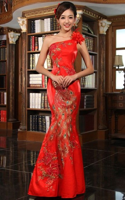 One-shoulder Chinese Qipao - Cheongsam Wedding Dress
