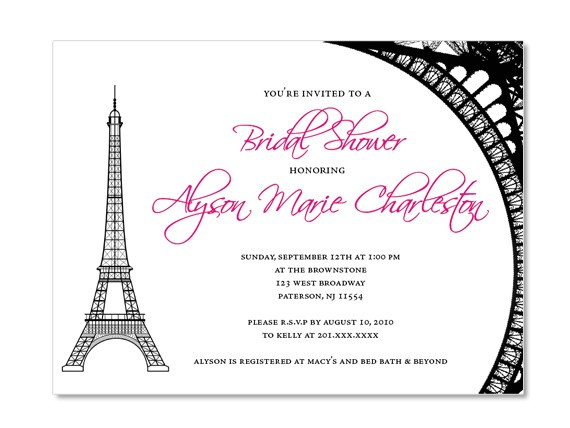 ... Tower Themed Bridal Shower Invitations - Parisian - French Party
