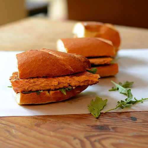 Blackened Salmon Sandwich with turmeric spread and arugula from Feed ...