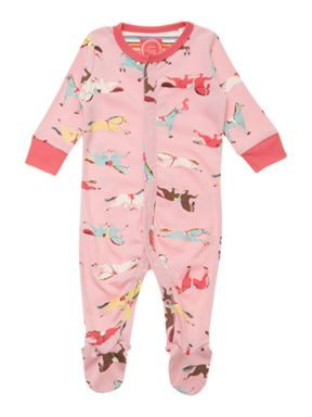 joules girl s horse print all in one light pink   house of fraser